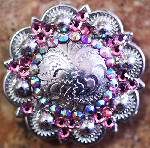 Lot of 4 Conchos Rhinestone Horse Saddle Western Bridle Berry Pink Bling (Pink Rhinestone Concho)