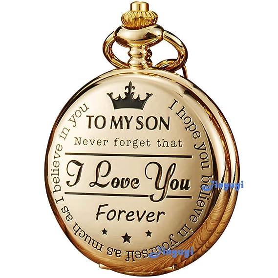 GORBEN Reloj de Bolsillo Dorado con Grabado «I Love You Forever», Regalo de cumpleaños para una Madre o Hijo, Regalo de Cadena, Regalo de graduación ...