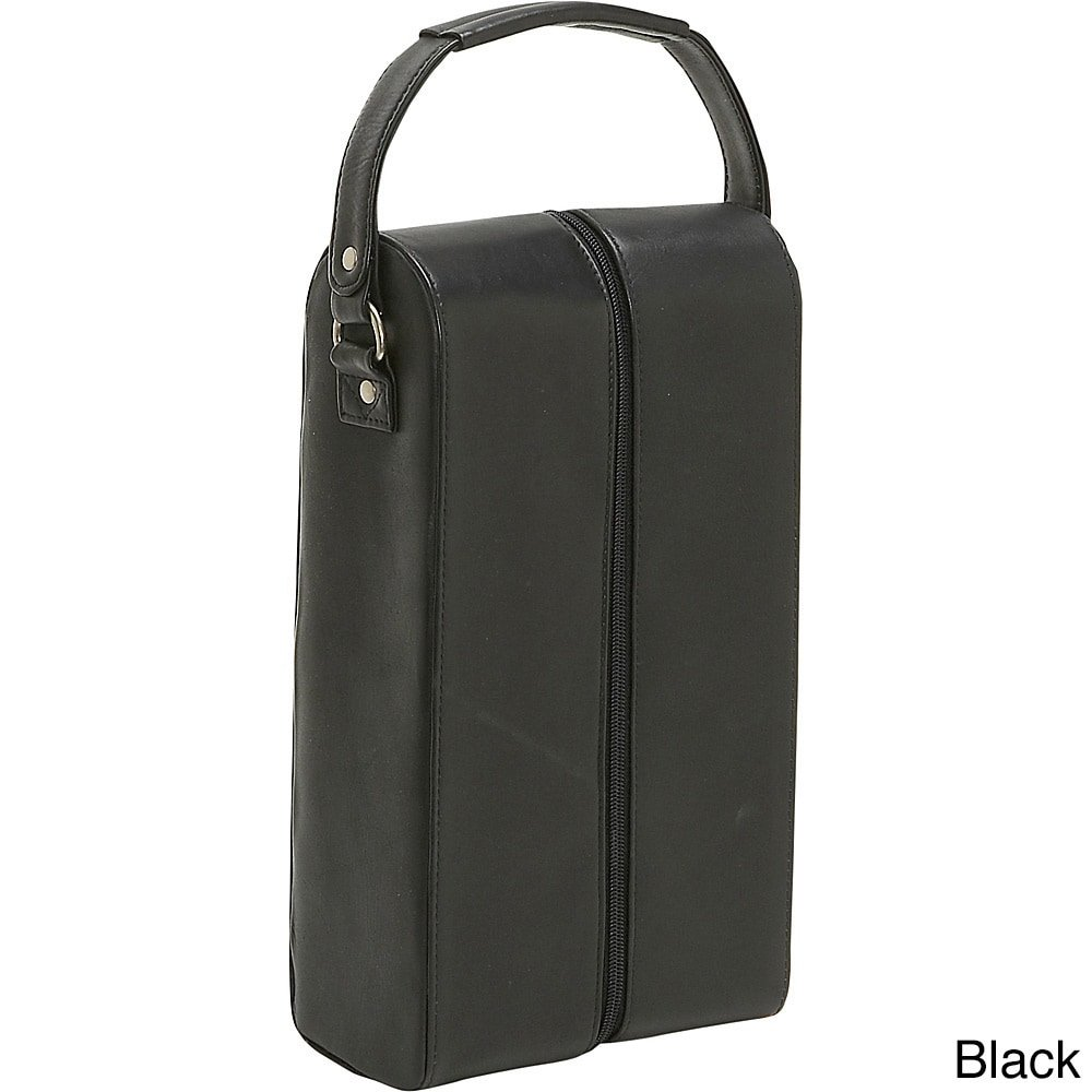 Le Donne Leather Two Bottle Wine Tote (Black)