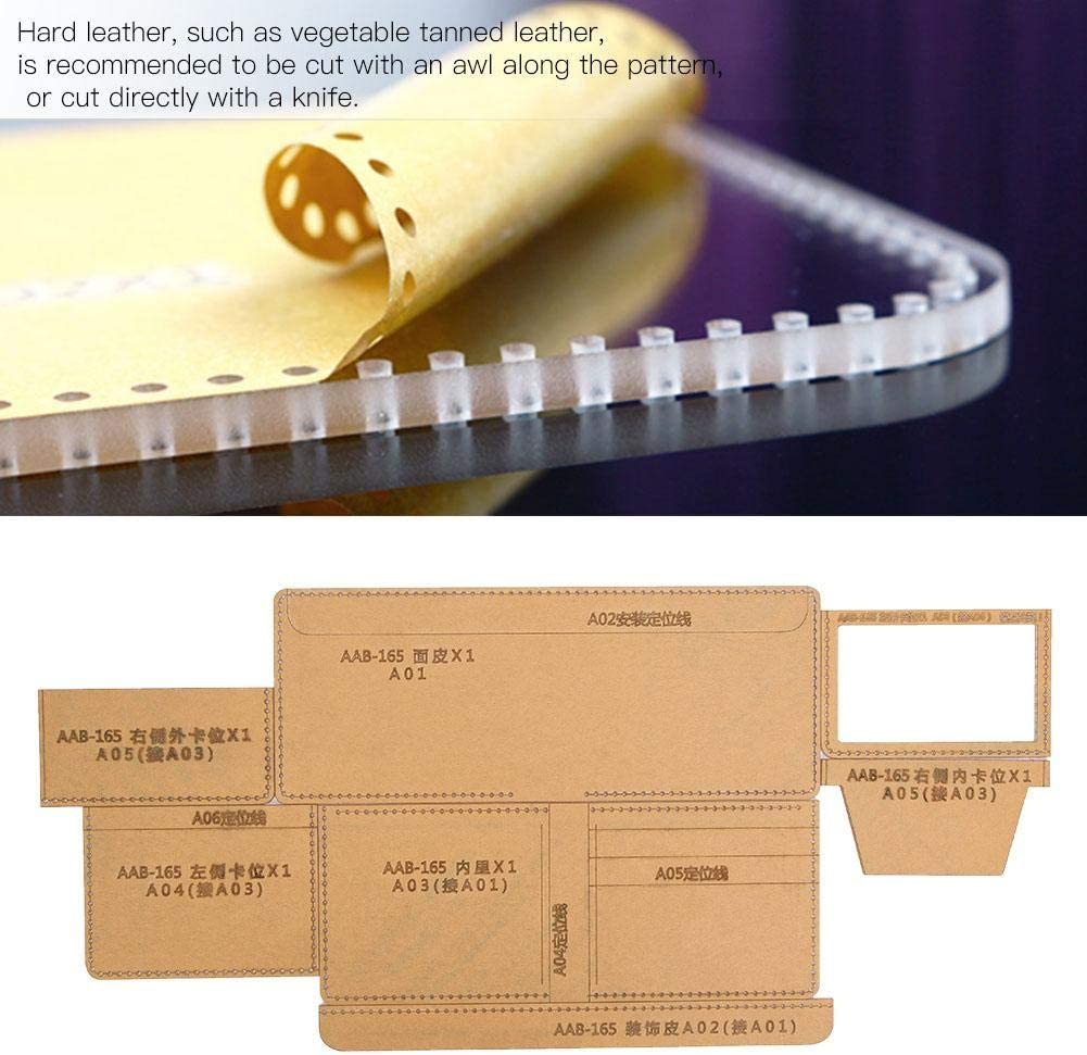 Clear Acrylic Wallet Pattern Stencil Wallet Template Drawings Set for Leather Craft DIY Tool