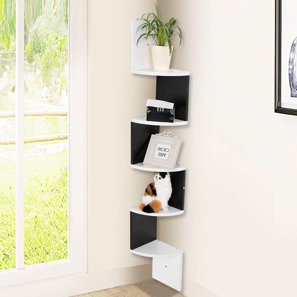 Estantería esquinera decorativa de madera, estantería de pared, estantería de libros, estantería esquinera, separador de 5 capas, color blanco y negro, unidad de almacenamiento para salón, dormitorio: Amazon.es: Hogar