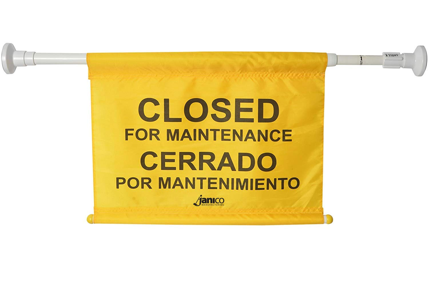 """Janico 1076 Closed for Maintenance Safety Sign, Expands up to 52"""", Bilingual, Yellow"""