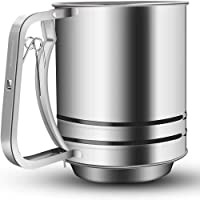 Stainless Steel Flour/Sugar Powder Sifter With Comfortable Spring Action Handle grip Dishwasher Safe