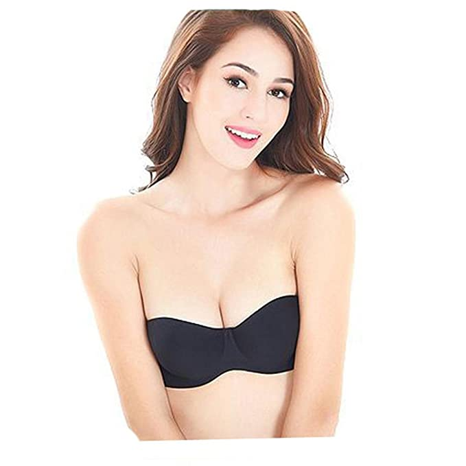 0081b4d0c9563 HANYI Push Up Padded Strapless Wire Free Seamless Minimizer Bra With Three  Hook-and-