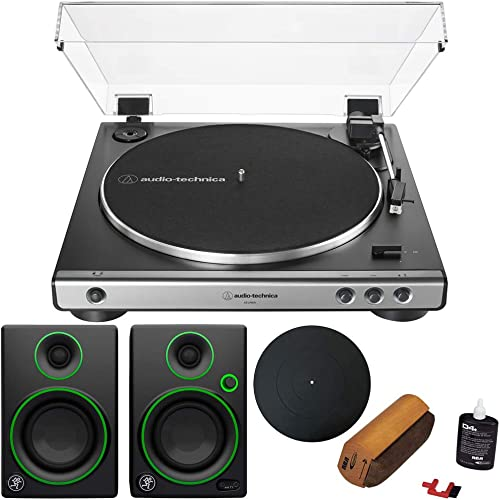 Audio-Technica AT-LP60X-GM Fully Automatic Belt-Drive Turntable Gunmetal Black Audio Immersion Bundle w Protective Turntable Platter, Vinyl Cleaning System Mackie CR3 3 Multimedia Monitors Pair