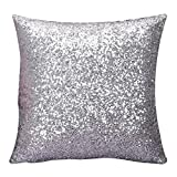 Home Decor Clearance,Solid Color Glitter Sequins Throw Pillow Cas Cafe Home Decor Cushion Covers,Pillow Protectors,Silver,16'×16'
