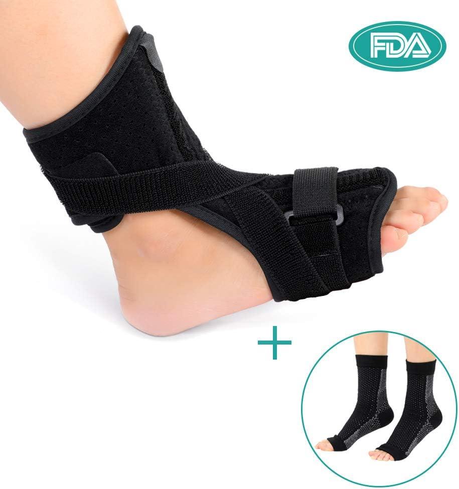 Férula de noche para fascitis plantar, para mujeres y hombres, apoyo ortopédico para el pie con un par de calcetines de compresión se adapta a la derecha o a la izquierda