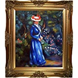 overstockArt Woman in a Blue Dress Standing in The Garden of St. Cloud Artwork by Renoir with Victorian Gold Frame
