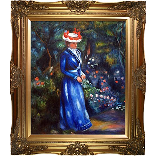 overstockArt Woman in a Blue Dress Standing in The Garden of St. Cloud Artwork by Renoir with Victorian Gold Frame by overstockArt