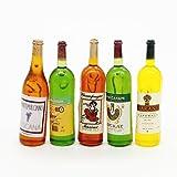 Odoria 5Pcs Wine Juice Bottles 1 12 Liquor Drink Miniature Dollhouse