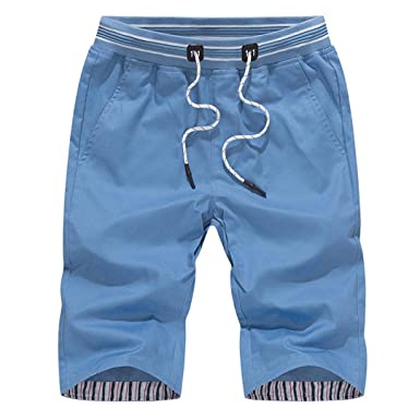 982468d27c0c RAISINGTOP Men Shorts Quick Dry Below Knee Beach Swim Trunks Surfing  Running Swimming Capri Pants Drawstring