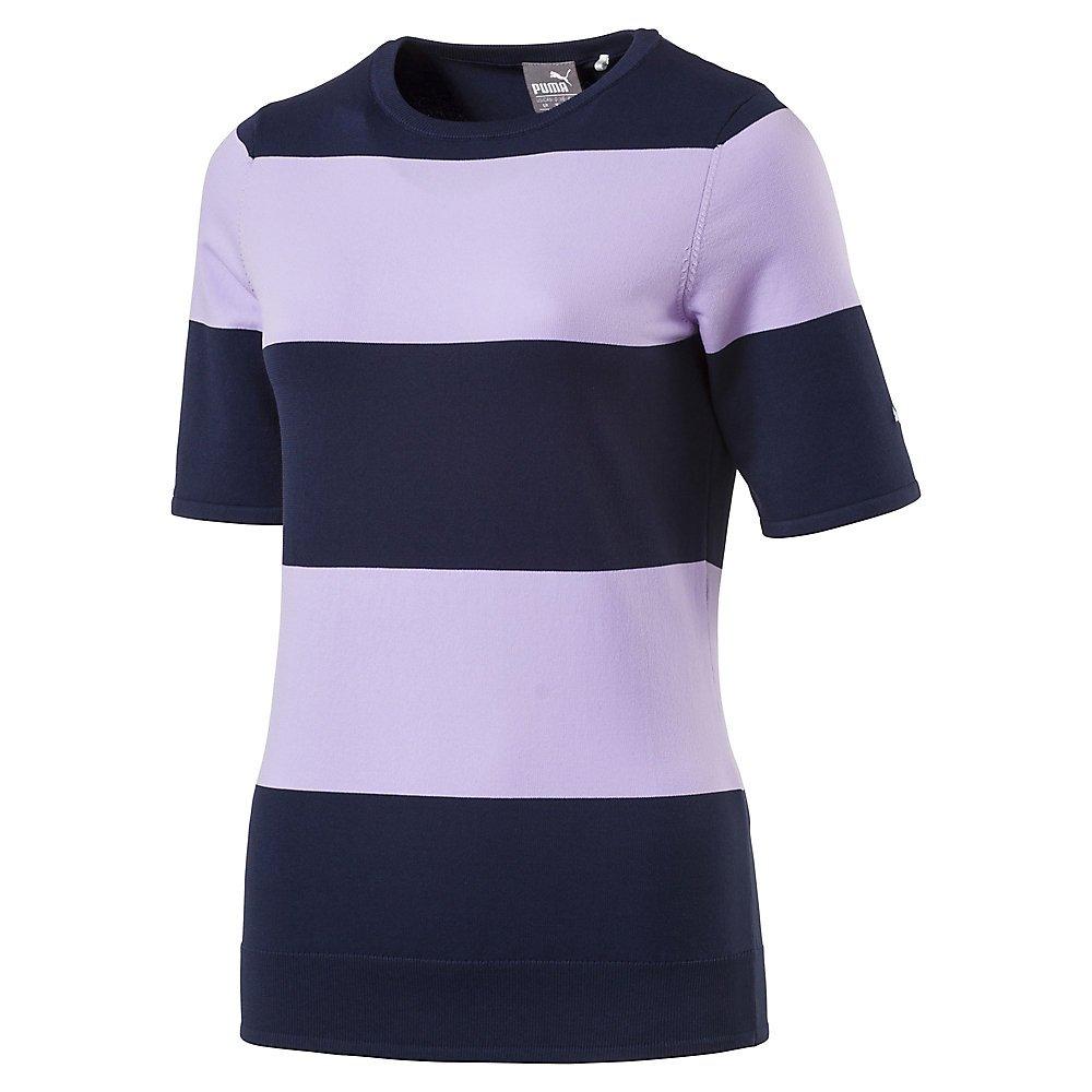 PUMA Golf Women's 2018 Short Sleeve Sweater, Purple Rose/Peacoat, Medium