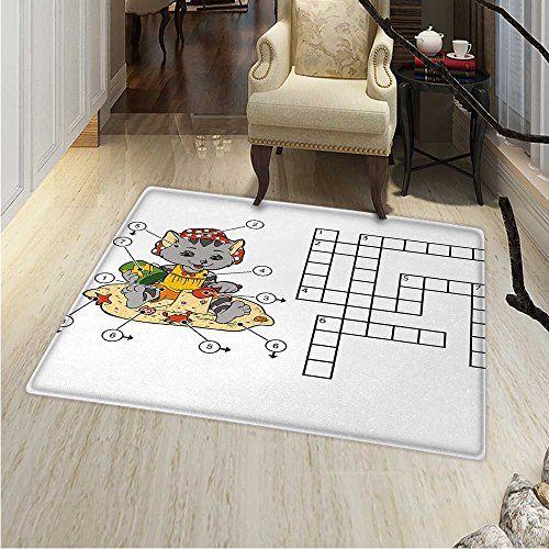 Word Search Puzzle Area Rug Crossword Game Children Cute Cat on Beach Building Sand Castles Indoor/Outdoor Area Rug 2'x3' -