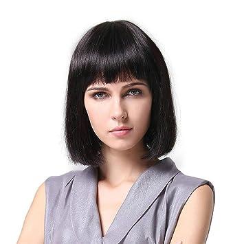 Meylee Pelucas Chica linda Elegant caliente señoras Pro salón aseado recto flequillo BOBO cabeza peluca llena