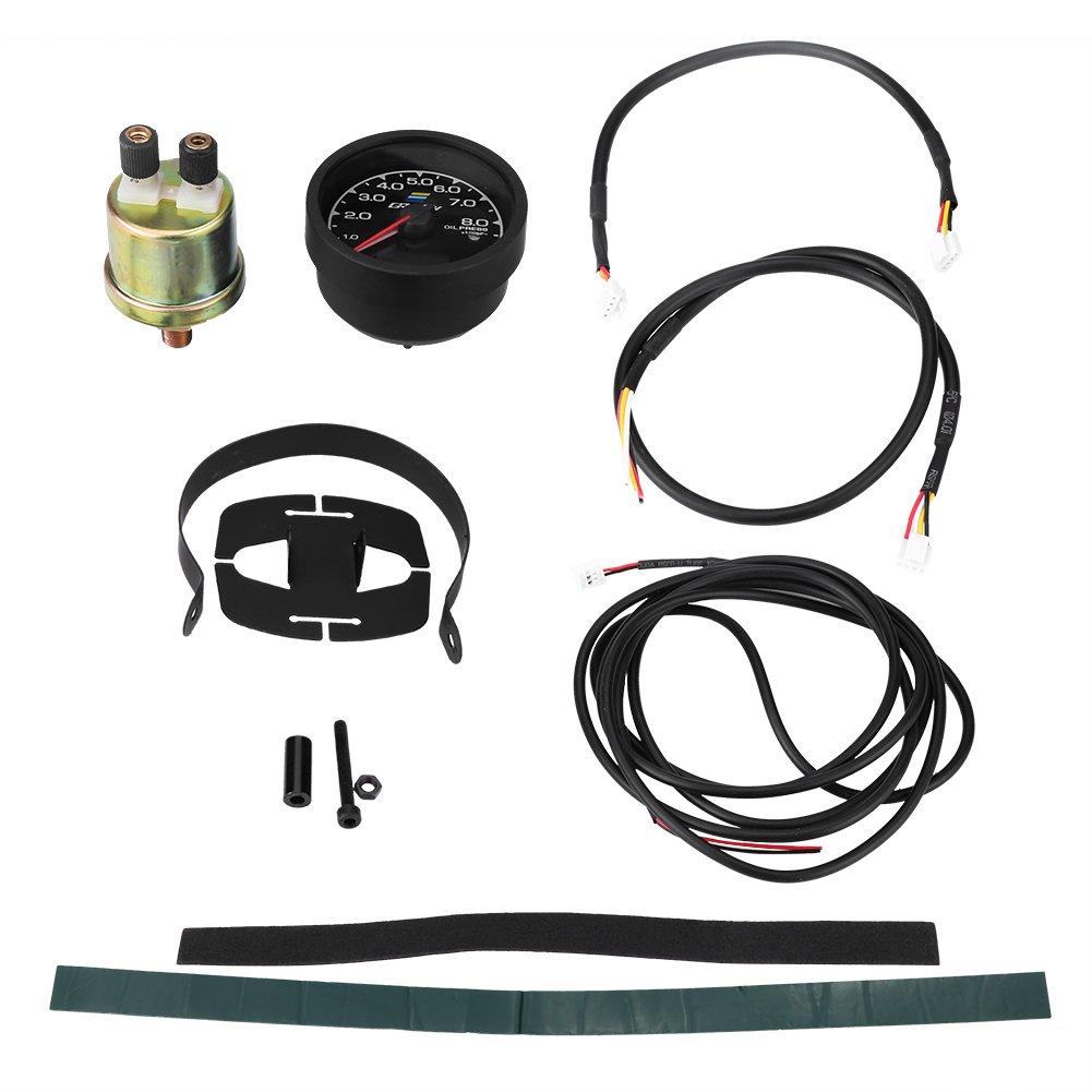 Oil Pressure Gauge EBTOOLS 6,5 cm//2,6 pollici Car Turbo Turbo Boost Pressione olio Temp Indicatore di tensione Misuratore DC 12V universale