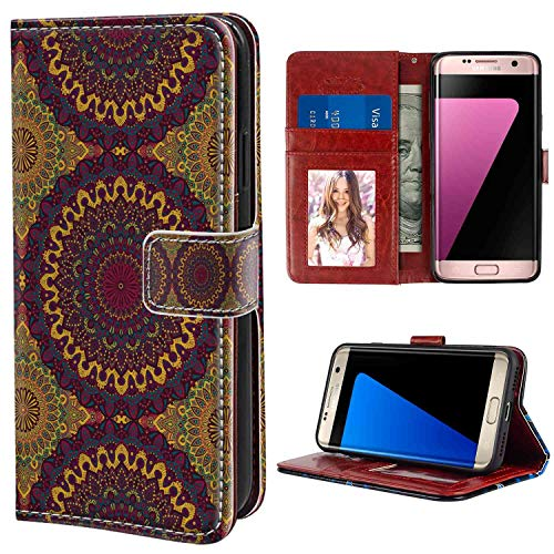 Moroccan Oriental Art Style Mandala Motifs Vintage Design Tribal Inspirations Plum Petrol Blue Yellow Wallet Phone Case Compatible Samsung Galaxy S7 Edge [5.5-Inch] with Coin Slot Case