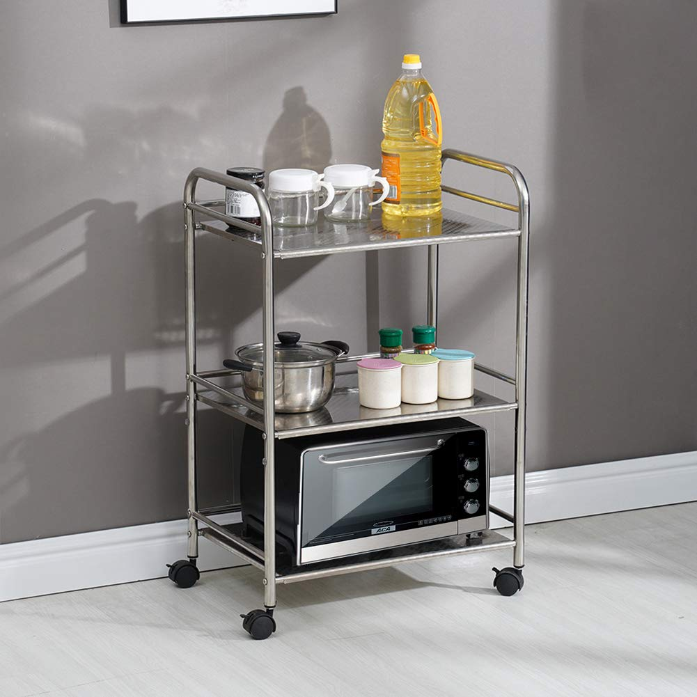 Tukailai 3 Shelves Kitchen Trolley Stainless Steel With Wheel Beauty Salon Cart Storage 3 Tier Detachable Catering Trolley Serving Trolley Clearing Trolley Kitchen Cart 350x600x750mm Buy Online In Aruba At Aruba Desertcart Com Productid