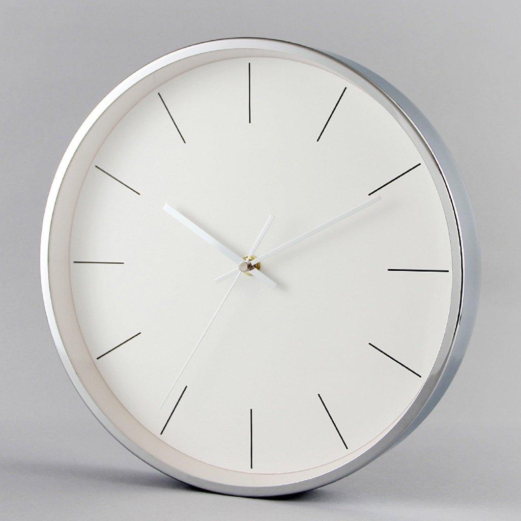 JTWJ シンプルな時計モダンホームミュート壁時計リビングルームベッドルームファッションウォールクロックラウンドクォーツ時計 (色 : シルバー しるば゜)   B07QYS5MGM