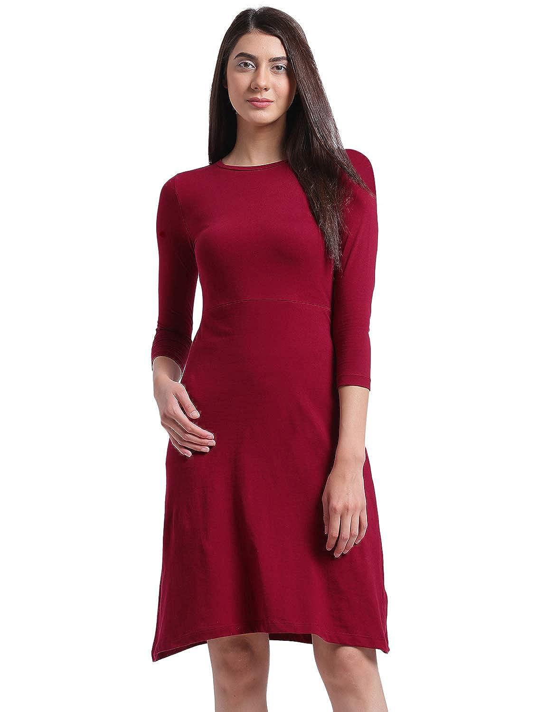 5092afb31d50 Rigo Women s Maroon Aline Midi Dress  Amazon.in  Clothing   Accessories