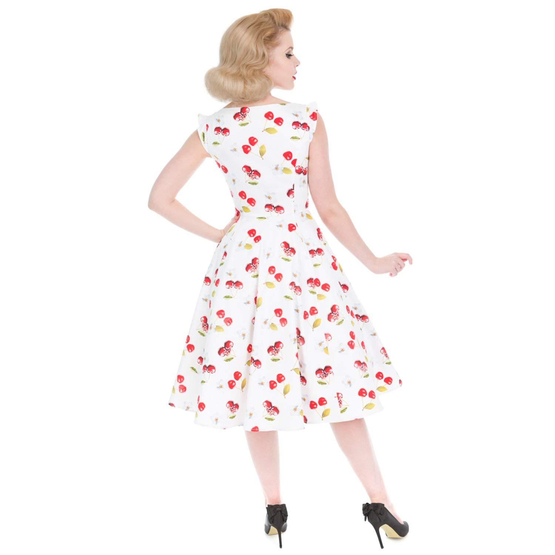 Hearts /& Roses 50/'s VintageBlue Red Summer Cherries Girls Prom Swing Dress