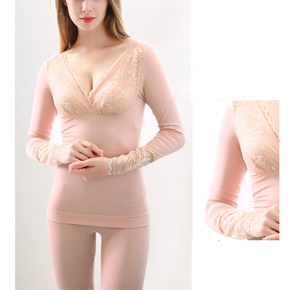 065f49dd4dba Zhuhaitf Thick Thermal Underwear V Neck Body Building Lace Top & Bottom for  Women at Amazon Women's Clothing store: