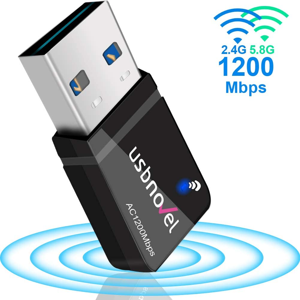 WiFi Adapter for Gaming 1200Mbps,USB 3.0 Newtork Wireless Adapter 2.4G/5G 802.11ac WiFi dongle with 5dBi Antenna for PC/Desktop/Laptop Windows XP/Vista/7/8/10 Mac 10.6-10.15 …