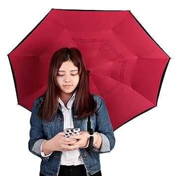 Paraguas reversible, doble capa, paraguas invertido, para el coche, recto, impermeable