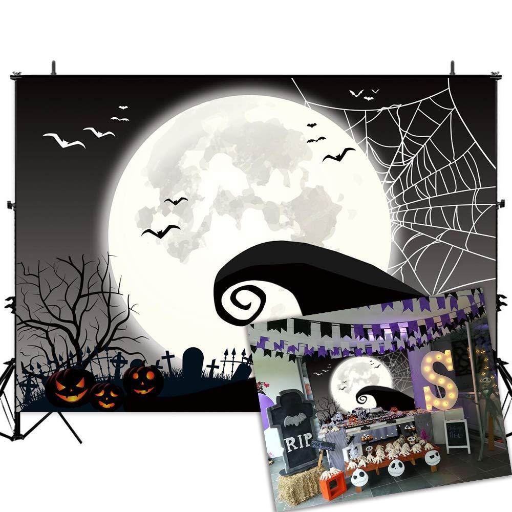 Allenjoy 7x5ft Nightmare Before Christmas Halloween Party Decor Backdrop Horror Night Pumpkin Jack Theme Birthday Baby Shower Photography Background