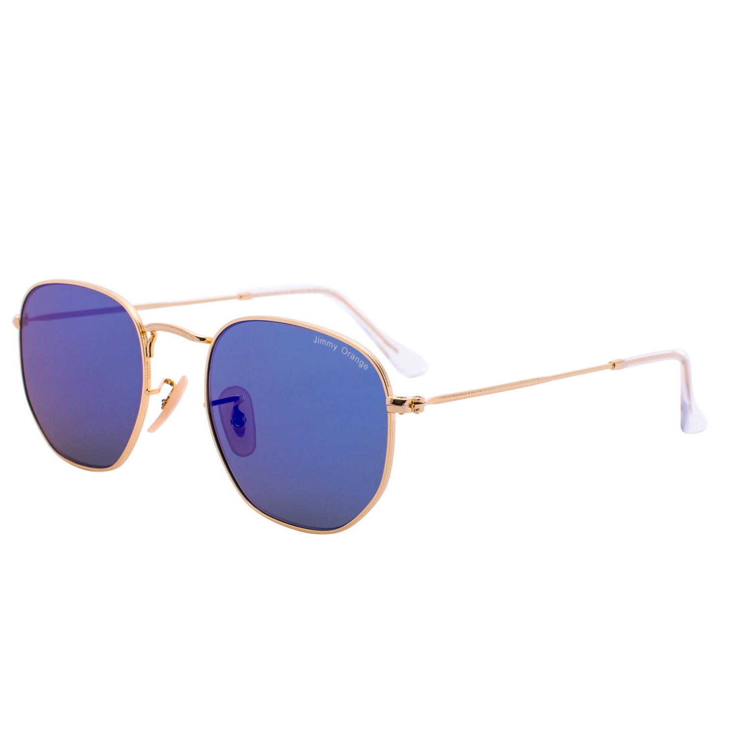 a5eb33a150 Amazon.com  JO Metal Womens Mens Round Designer UV Protection Glasses  Mirrored Lens Sunglasses J7233 blue  Clothing