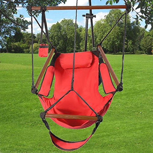 or Indoor Hammock Hanging Chair Air Deluxe Swing Chair Solid Wood 250lb (Red) YRS 1043 (Galaxy Executive Chair)