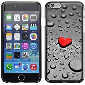 Graphic4You Red Heart Raindrops Design Thin Slim Rigid Hard Case Cover for Apple iPhone 6 Plus / 6S Plus