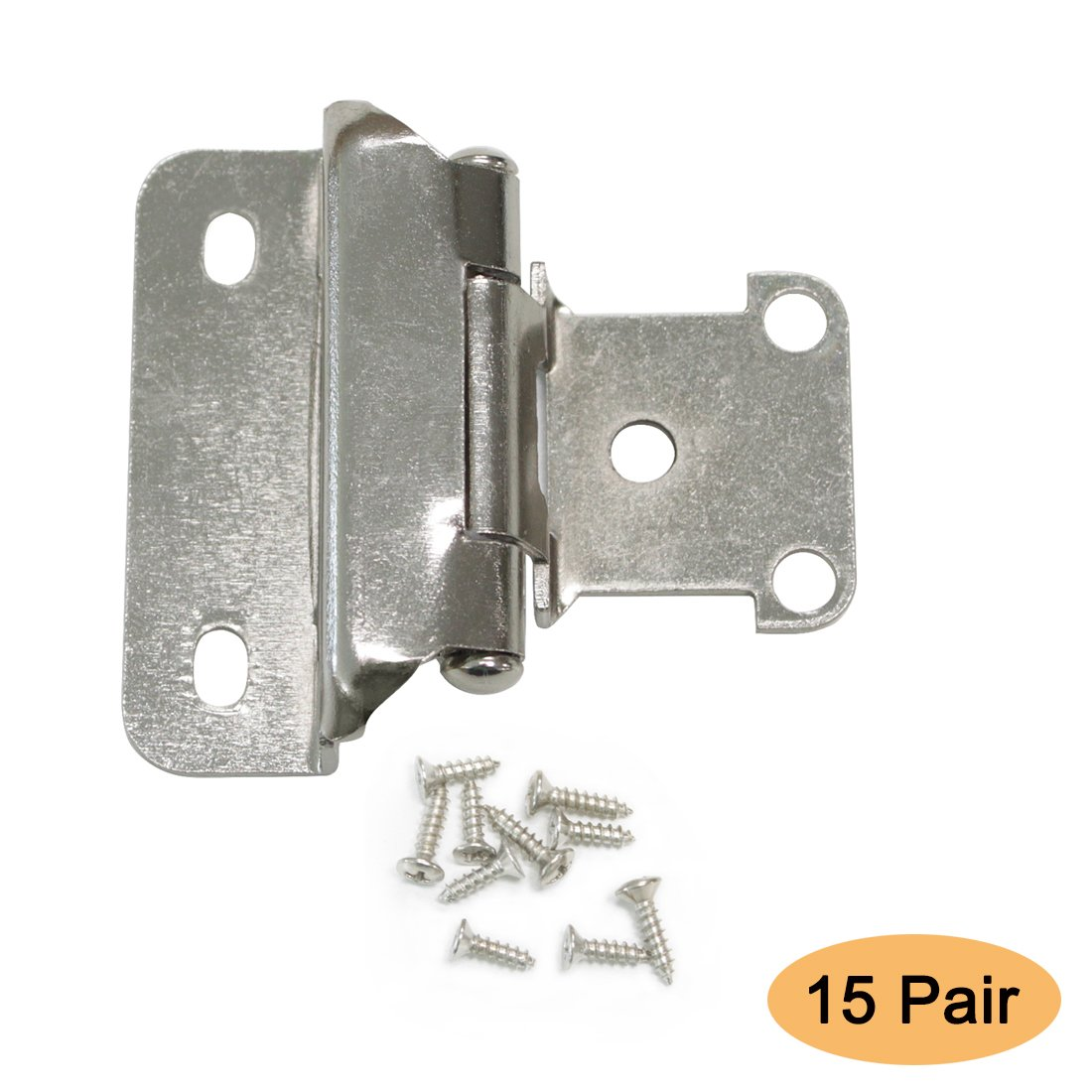 Gobrico 1/2'' Overlay Self Closing Cabinet Hinges Kitchen Hinges in Brushed Satin Nickel 15Pair(30Pcs)