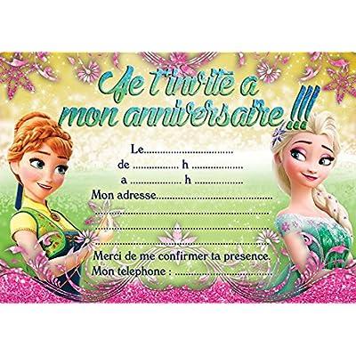 10 CARTES INVITATION ANNIVERSAIRE LA REINE DES NEIGES FROZEN in French (avec des enveloppes roses)