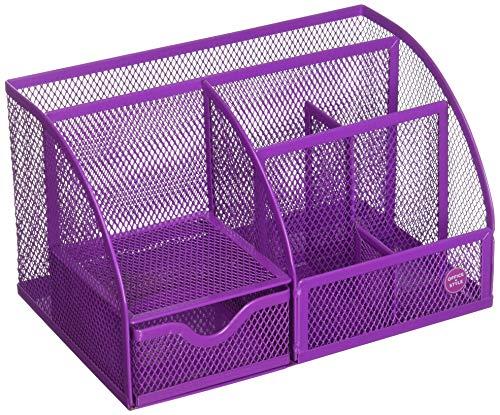 Mesh Desk Organizer, 5 Compartments- Purple