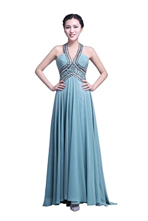 YiYaDawn Womens Chiffon Prom Dress 2015 Size 20 UK Pale Blue