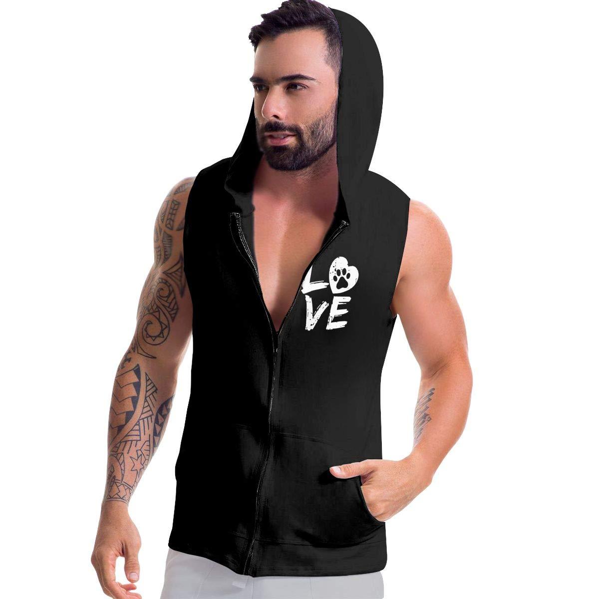Love Paw Print in Heart Zip Up Tank Tops Mens Sleeveless Sweatshirt