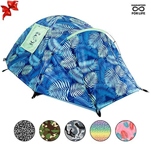 Chillbo CABBINS Best 2 Person Tent with Cool Patterns Ultimate Summer Camping Gear Gift for Backpacking Car Camping Music Festivals Best Camping Tents for Family 2-3 Man Tent (Blue Leaf)