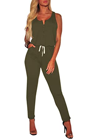 879dd2cb1b2 Fixmatti Women Daily Wear Clothes Sleeveless Waisted Rompers Outfits Green S