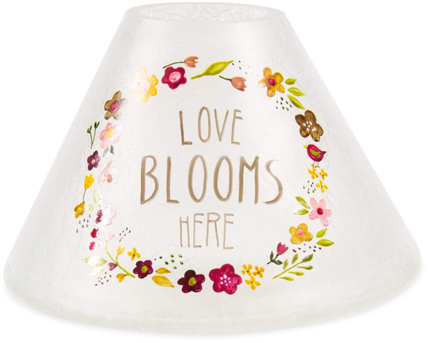 Pavilion Gift Company Love Blooms Here-Hand Painted Floral Frosted and Crackled Glass Jar Large Candle Shade 55250
