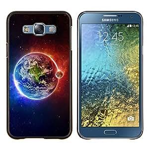 KLONGSHOP // Cubierta de piel con cierre a presión Shell trasero duro de goma Protección Caso - Espacio Planet Galaxy Estrellas 63 - Samsung Galaxy E7 E700 //