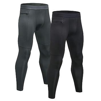 98071ed6cde6e3 Niksa Sport Leggings männer 2er Pack,Laufhose Tight Lange Unterhose Quick  Dry Kompression Hose für