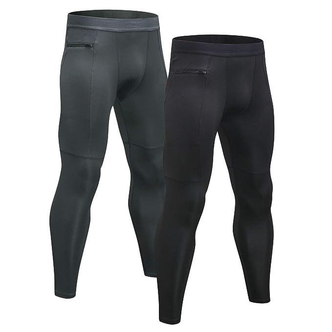 Niksa 2 Piezas Mallas Hombre Running Leggings Deporte Pantalones Largos de Compresión