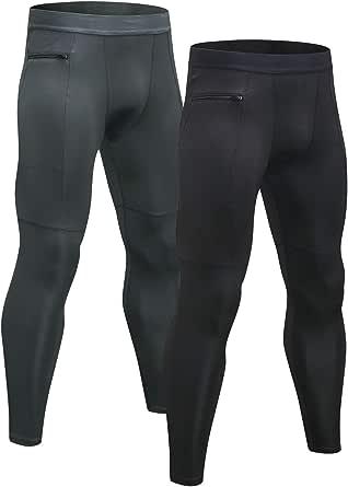 Niksa 2 Piezas Mallas Hombre Running Leggings Deporte Pantalones Largos de Compresión(Negro Gris)