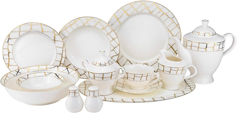 Euro Porcelain 57-pc Banquet Dinnerware Set, Luxury Bone China Tableware, Service for 8