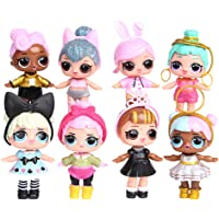 LOL Surprise Girl Doll Cake Topper Pastel Decoración Suministros 8Pcs Surprise Doll Figures Muñeca Hecha a Mano Muñeca…