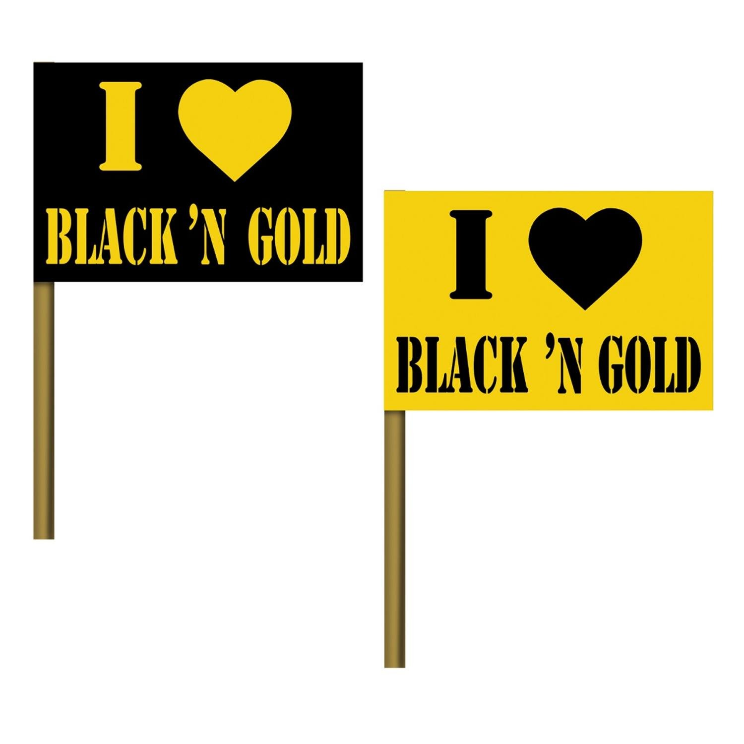 Club Pack of 125 ''I Love Black and Gold'' Flag Party Pick Decoration 8''