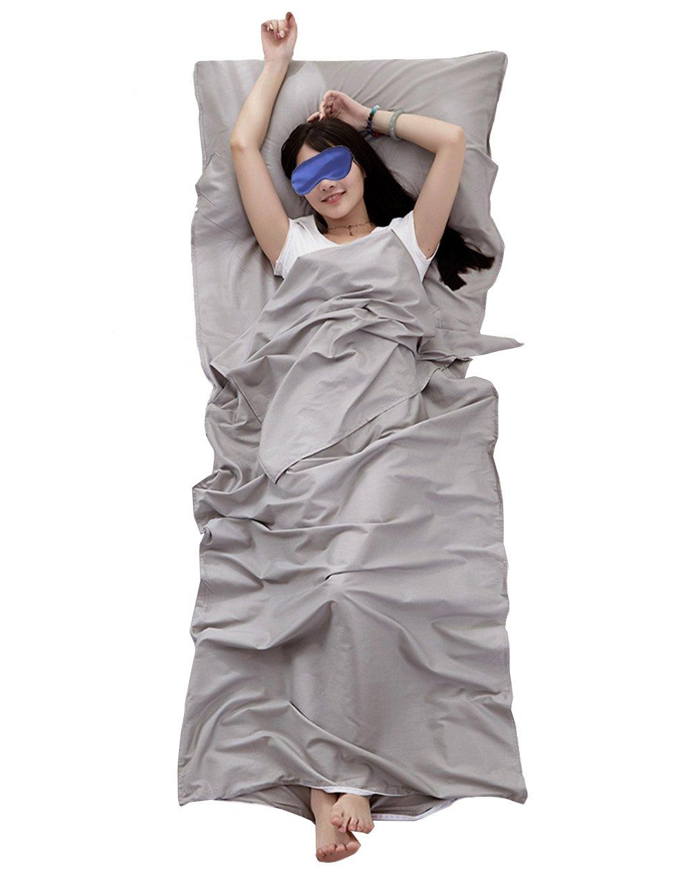 Share Maison 100% Cotton Sleeping Bag Liner Travel Sheet Camping Sleep Sheet Single/Double (Grey, 87''x47'') by Share Maison