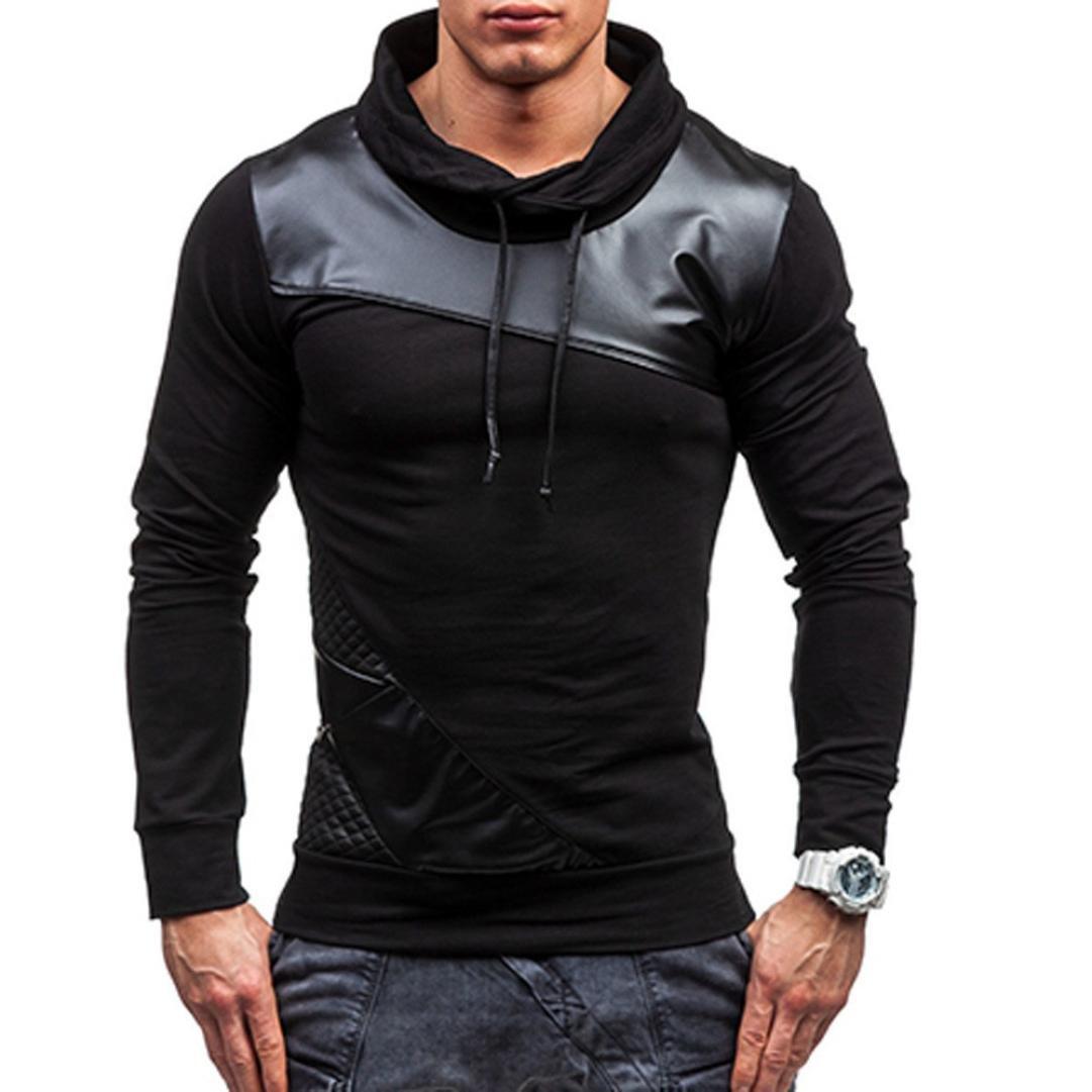 Sudaderas Hombre, Xinantime Ropa interior de manga larga Abrigo Hombre Suéter negro de remiendo Xinantime_3439