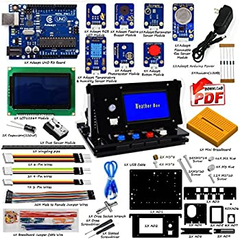 Adeept Indoor Environment Monitoring Kit | Weather Box Kit | Starter Kit for Arduino UNO R3 with Guidebook(PDF) and Code | UNO R3 Project Complete Starter Kit with Tutorial