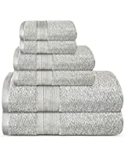 Trident Bath Towel Set, 100% Cotton 6 Piece Set- (2 Washcloths, 2 Hand, 2 Bath Towels) Bathroom Towels, Super Soft, High Absorbent, 500 GSM, Machine Washable - Soft & Plush Collection - Silver